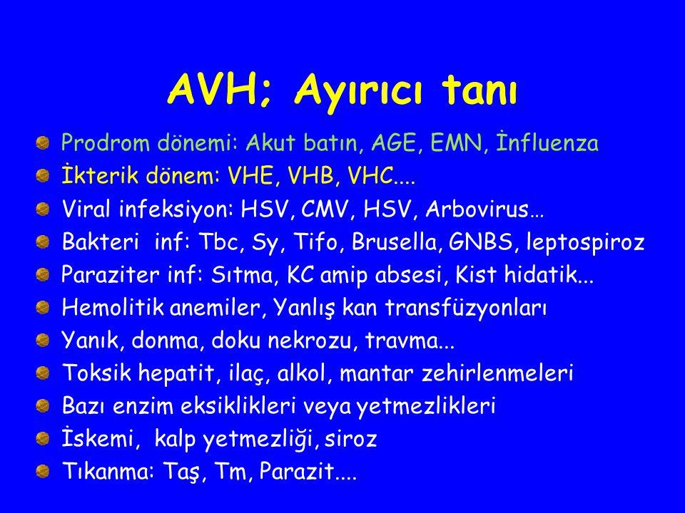 AVH; Ayırıcı tanı Prodrom dönemi: Akut batın, AGE, EMN, İnfluenza İkterik dönem: VHE, VHB, VHC.... Viral infeksiyon: HSV, CMV, HSV, Arbovirus… Bakteri