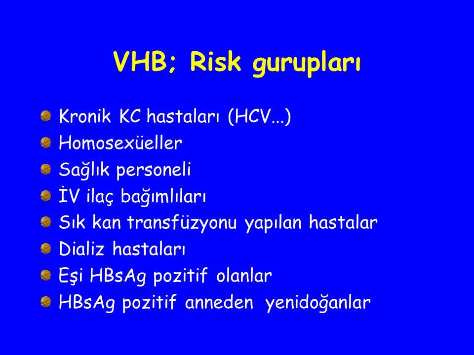 VHB; Risk gurupları Kronik KC hastaları (HCV...) Homosexüeller Sağlık personeli İV ilaç bağımlıları Sık kan transfüzyonu yapılan hastalar Dializ hasta