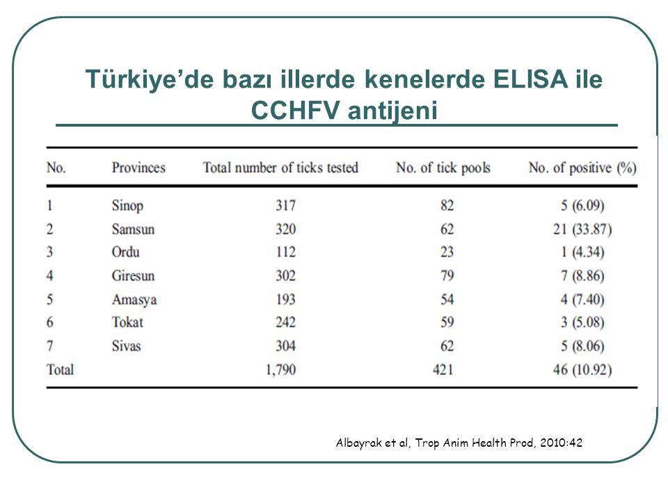 Albayrak et al, Trop Anim Health Prod, 2010:42 Türkiye'de bazı illerde kenelerde ELISA ile CCHFV antijeni