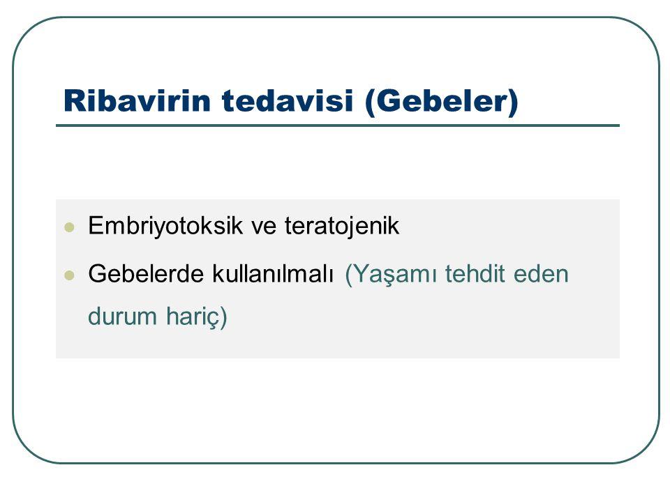 Ribavirin tedavisi (Gebeler) Embriyotoksik ve teratojenik Gebelerde kullanılmalı (Yaşamı tehdit eden durum hariç)