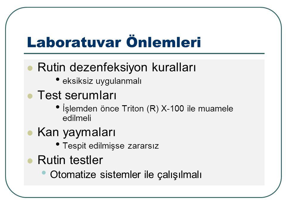 Laboratuvar Önlemleri Rutin dezenfeksiyon kuralları eksiksiz uygulanmalı Test serumları İşlemden önce Triton (R) X-100 ile muamele edilmeli Kan yaymaları Tespit edilmişse zararsız Rutin testler Otomatize sistemler ile çalışılmalı