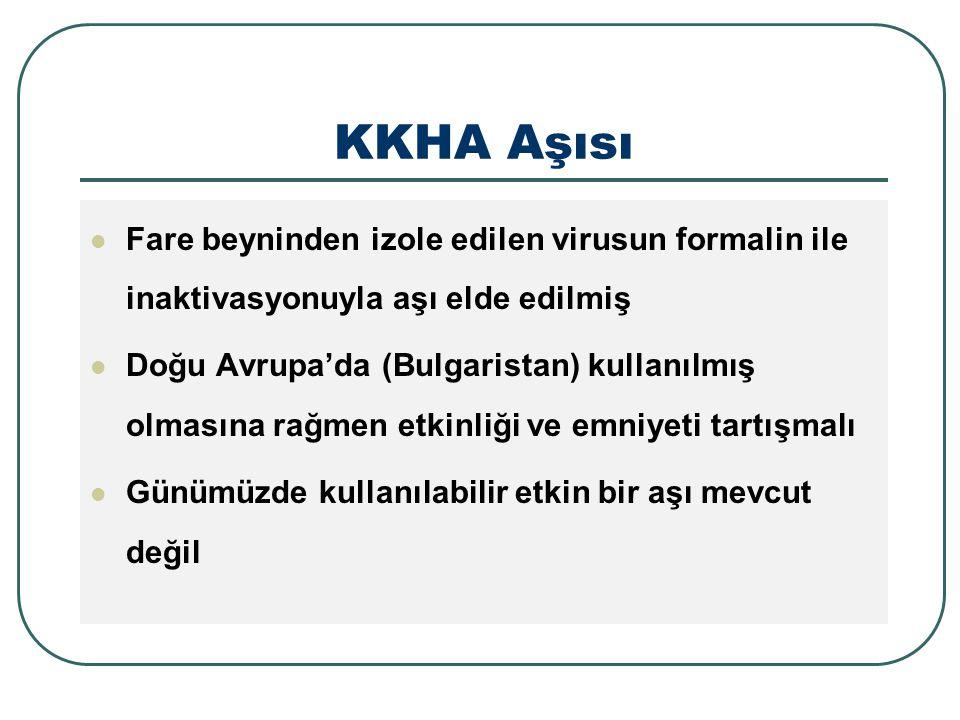 KKHA Aşısı Fare beyninden izole edilen virusun formalin ile inaktivasyonuyla aşı elde edilmiş Doğu Avrupa'da (Bulgaristan) kullanılmış olmasına rağmen etkinliği ve emniyeti tartışmalı Günümüzde kullanılabilir etkin bir aşı mevcut değil