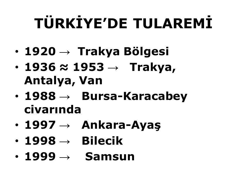 TÜRKİYE'DE TULAREMİ 1920 → Trakya Bölgesi 1936 ≈ 1953 → Trakya, Antalya, Van 1988 → Bursa-Karacabey civarında 1997 → Ankara-Ayaş 1998 → Bilecik 1999 →