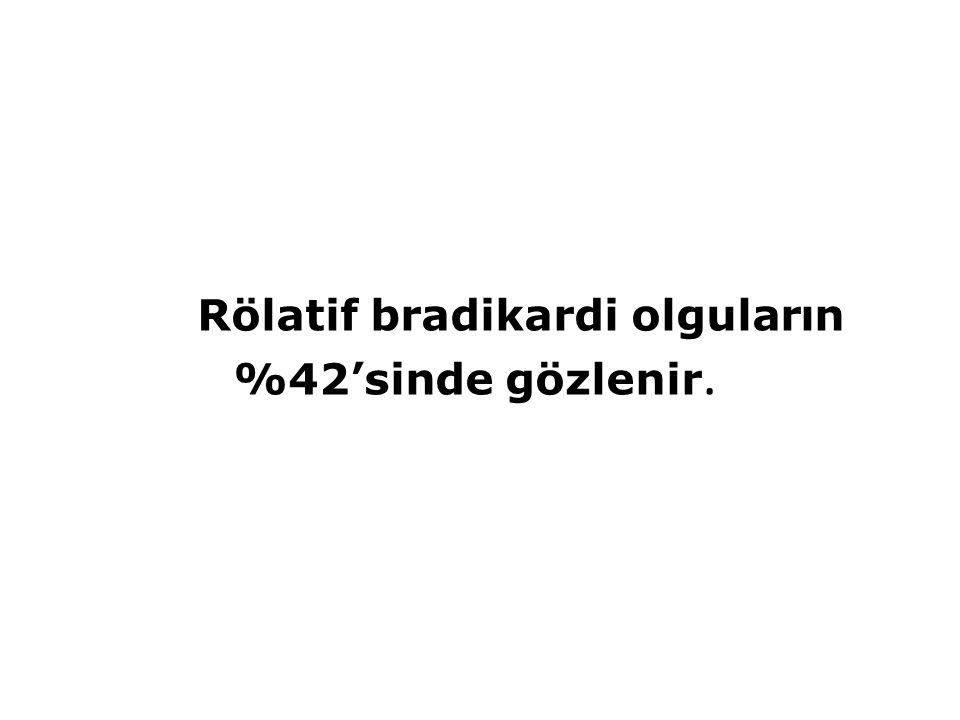 Rölatif bradikardi olguların %42'sinde gözlenir.