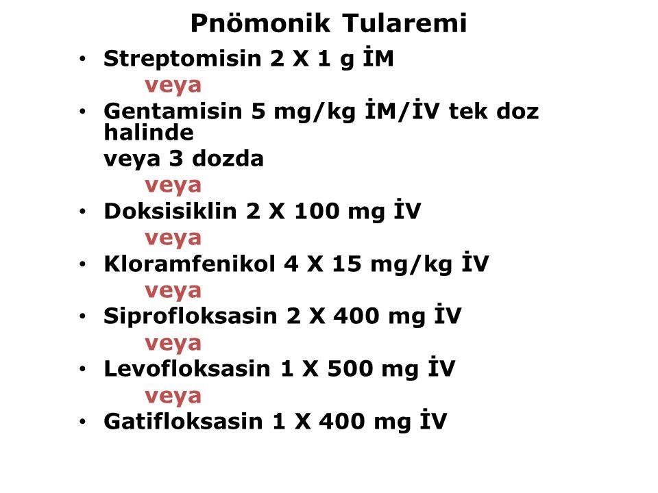 Pnömonik Tularemi Streptomisin 2 X 1 g İM veya Gentamisin 5 mg/kg İM/İV tek doz halinde veya 3 dozda veya Doksisiklin 2 X 100 mg İV veya Kloramfenikol