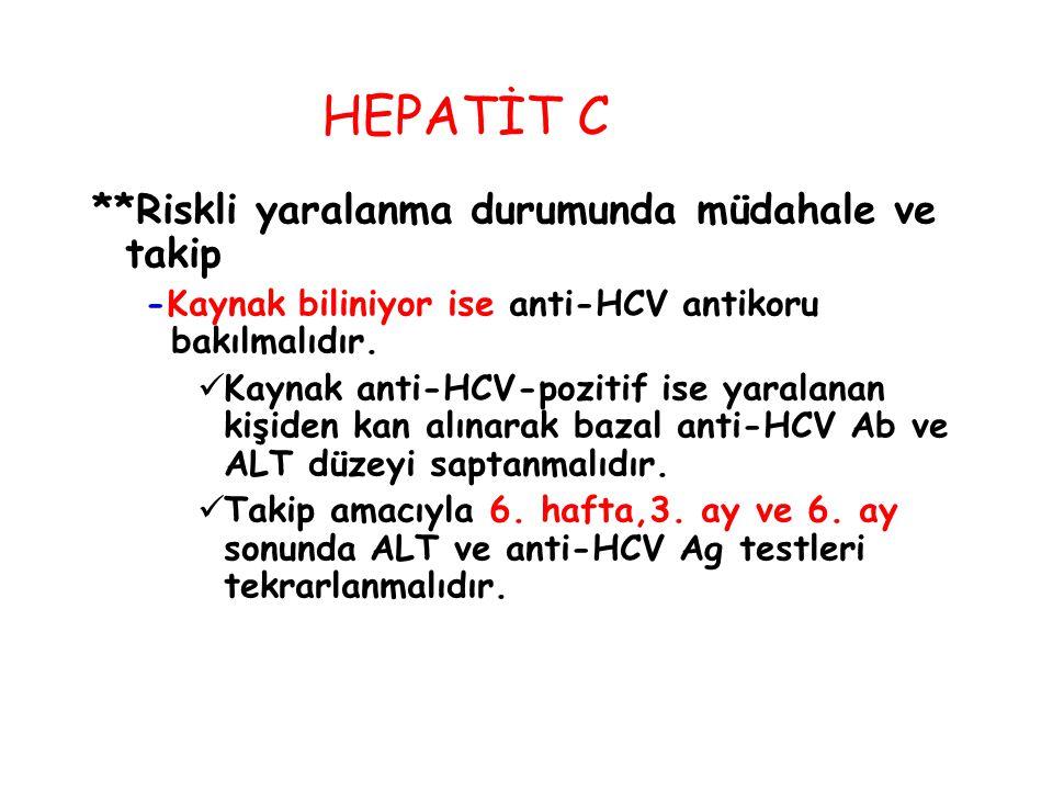 **Riskli yaralanma durumunda müdahale ve takip -Kaynak biliniyor ise anti-HCV antikoru bakılmalıdır. Kaynak anti-HCV-pozitif ise yaralanan kişiden kan