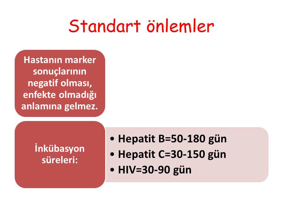 Standart önlemler Hastanın marker sonuçlarının negatif olması, enfekte olmadığı anlamına gelmez. Hepatit B=50-180 gün Hepatit C=30-150 gün HIV=30-90 g