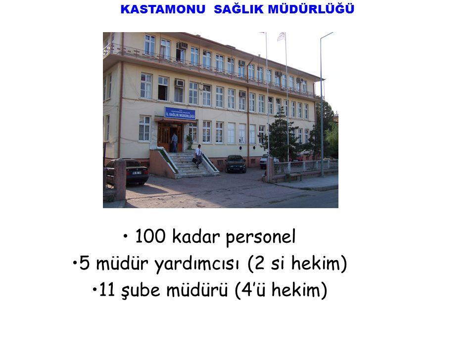 KASTAMONU SAĞLIK MÜDÜRLÜĞÜ 100 kadar personel 5 müdür yardımcısı (2 si hekim) 11 şube müdürü (4'ü hekim)