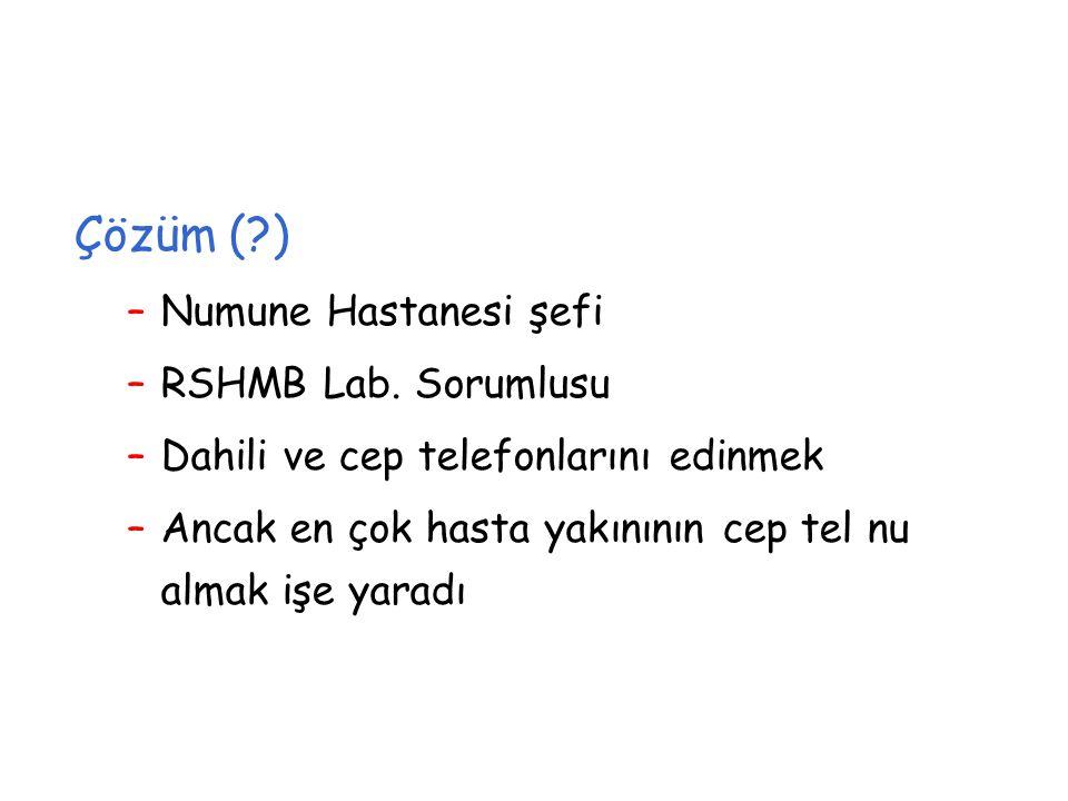Çözüm (?) –Numune Hastanesi şefi –RSHMB Lab.