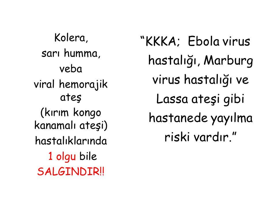 """Kolera, sarı humma, veba viral hemorajik ateş (kırım kongo kanamalı ateşi) hastalıklarında 1 olgu bile SALGINDIR!! """"KKKA; Ebola virus hastalığı, Marbu"""