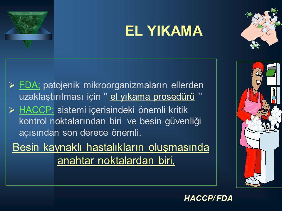 EL YIKAMA  FDA; patojenik mikroorganizmaların ellerden uzaklaştırılması için '' el yıkama prosedürü ''  HACCP; sistemi içerisindeki önemli kritik ko