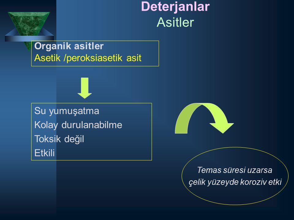 Deterjanlar Asitler Organik asitler Asetik /peroksiasetik asit Temas süresi uzarsa çelik yüzeyde koroziv etki Su yumuşatma Kolay durulanabilme Toksik