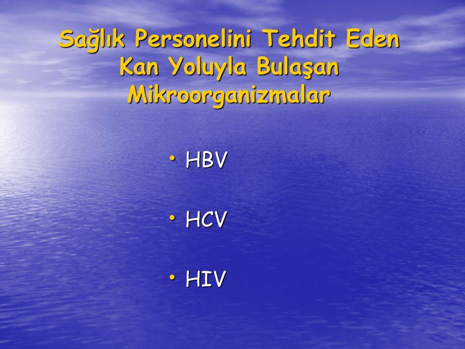Sağlık Personelini Tehdit Eden Kan Yoluyla Bulaşan Mikroorganizmalar HBV HBV HCV HCV HIV HIV