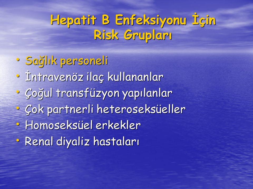 Hepatit B Enfeksiyonu İçin Risk Grupları Sağlık personeli Sağlık personeli İntravenöz ilaç kullananlar İntravenöz ilaç kullananlar Çoğul transfüzyon yapılanlar Çoğul transfüzyon yapılanlar Çok partnerli heteroseksüeller Çok partnerli heteroseksüeller Homoseksüel erkekler Homoseksüel erkekler Renal diyaliz hastaları Renal diyaliz hastaları