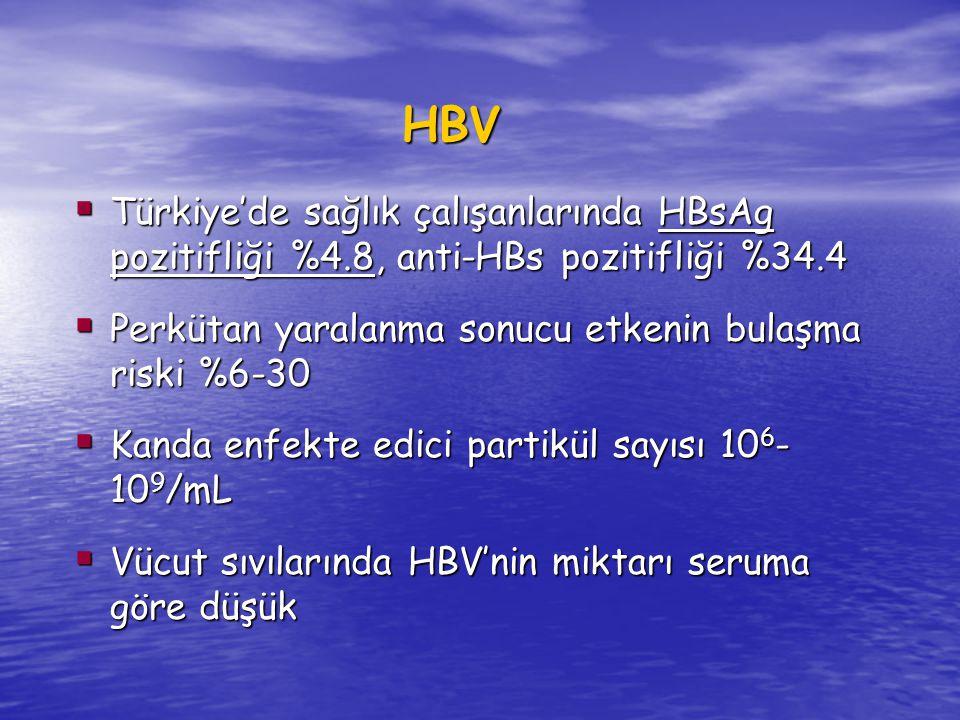HBV  Türkiye'de sağlık çalışanlarında HBsAg pozitifliği %4.8, anti-HBs pozitifliği %34.4  Perkütan yaralanma sonucu etkenin bulaşma riski %6-30  Kanda enfekte edici partikül sayısı 10 6 - 10 9 /mL  Vücut sıvılarında HBV'nin miktarı seruma göre düşük