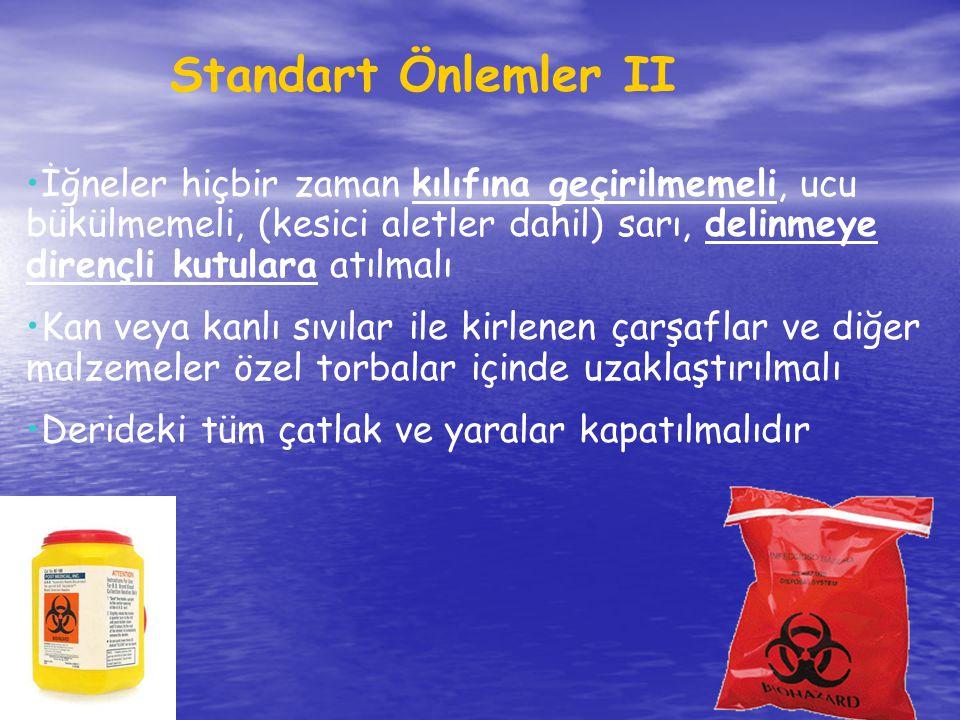 Standart Önlemler II İğneler hiçbir zaman kılıfına geçirilmemeli, ucu bükülmemeli, (kesici aletler dahil) sarı, delinmeye dirençli kutulara atılmalı K