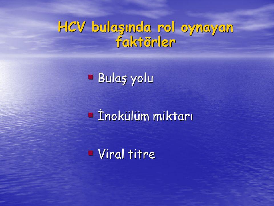 HCV bulaşında rol oynayan faktörler  Bulaş yolu  İnokülüm miktarı  Viral titre