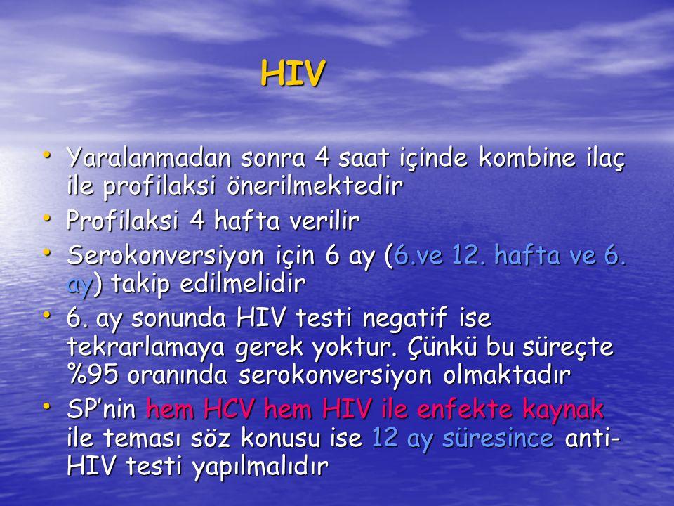 HIV Yaralanmadan sonra 4 saat içinde kombine ilaç ile profilaksi önerilmektedir Yaralanmadan sonra 4 saat içinde kombine ilaç ile profilaksi önerilmektedir Profilaksi 4 hafta verilir Profilaksi 4 hafta verilir Serokonversiyon için 6 ay (6.ve 12.