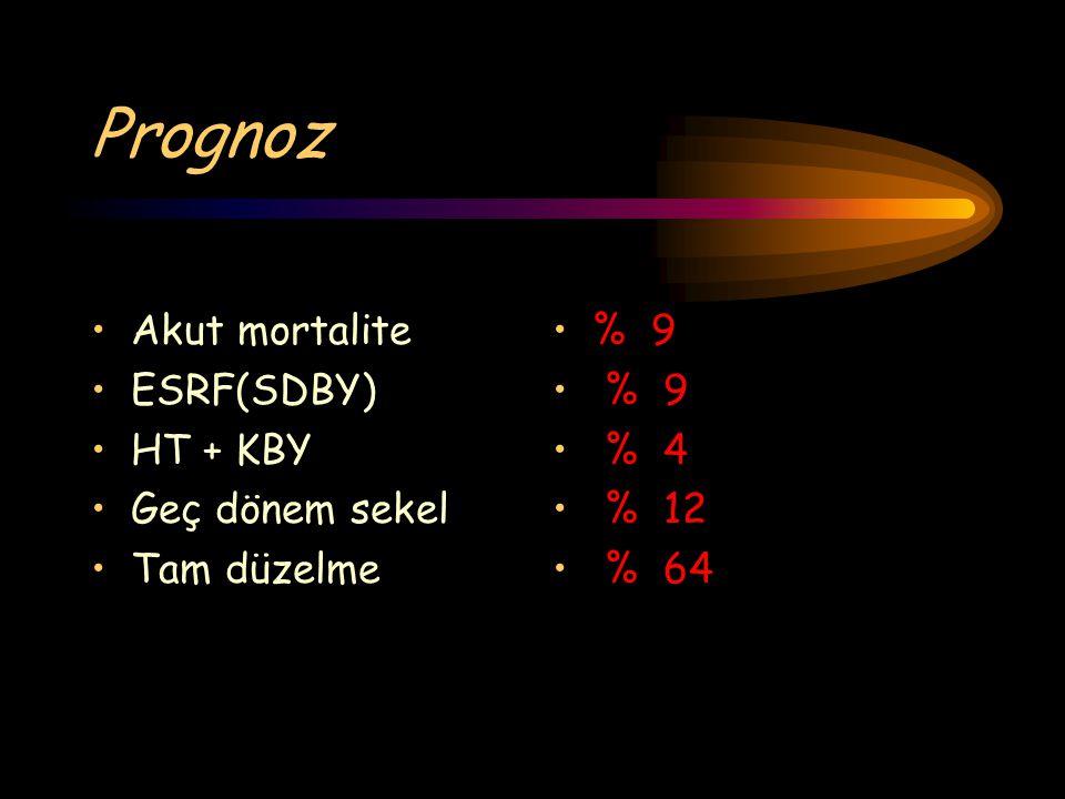 Akut mortalite ESRF(SDBY) HT + KBY Geç dönem sekel Tam düzelme Prognoz % 9 % 4 % 12 % 64