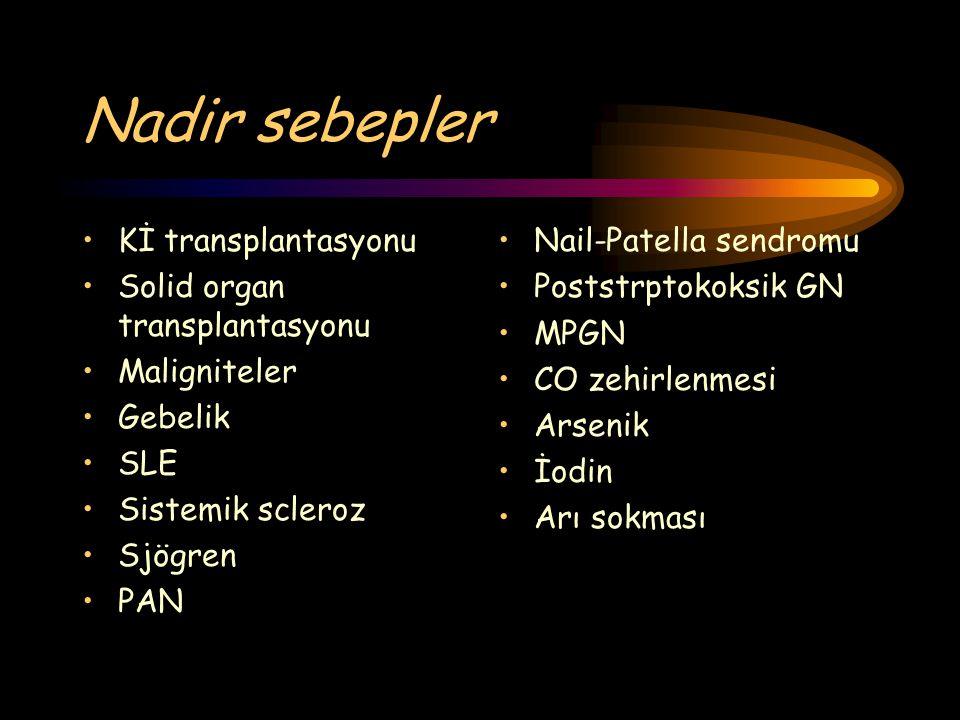 Nadir sebepler Kİ transplantasyonu Solid organ transplantasyonu Maligniteler Gebelik SLE Sistemik scleroz Sjögren PAN Nail-Patella sendromu Poststrpto