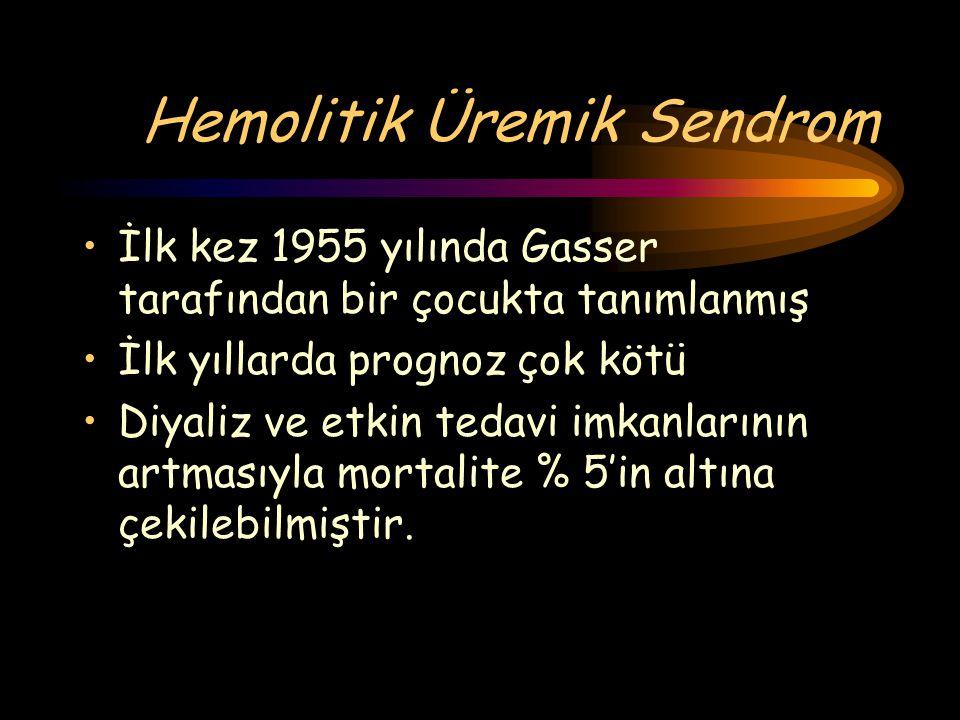 Hemolitik Üremik Sendrom İlk kez 1955 yılında Gasser tarafından bir çocukta tanımlanmış İlk yıllarda prognoz çok kötü Diyaliz ve etkin tedavi imkanlar