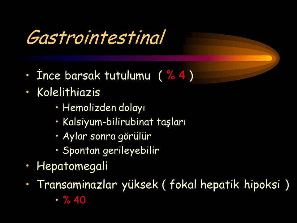 Gastrointestinal İnce barsak tutulumu ( % 4 ) Kolelithiazis Hemolizden dolayı Kalsiyum-bilirubinat taşları Aylar sonra görülür Spontan gerileyebilir H