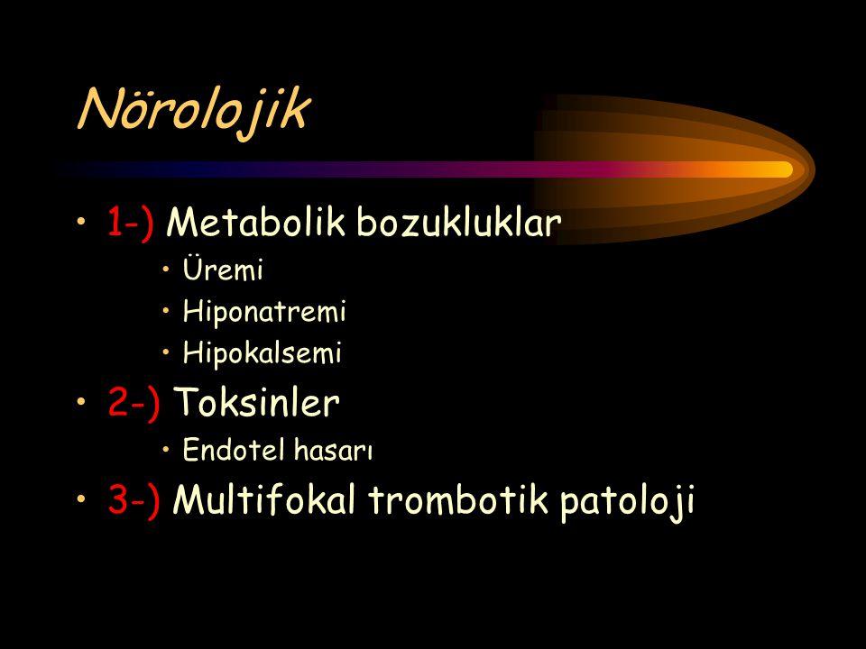 Nörolojik 1-) Metabolik bozukluklar Üremi Hiponatremi Hipokalsemi 2-) Toksinler Endotel hasarı 3-) Multifokal trombotik patoloji