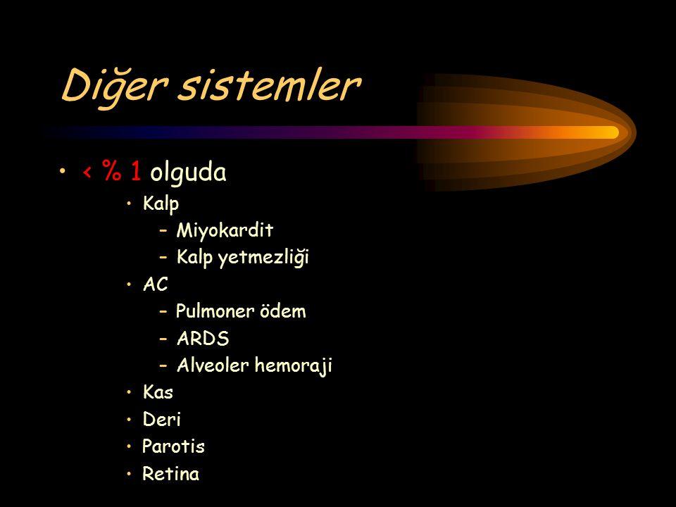 Diğer sistemler < % 1 olguda Kalp –Miyokardit –Kalp yetmezliği AC –Pulmoner ödem –ARDS –Alveoler hemoraji Kas Deri Parotis Retina