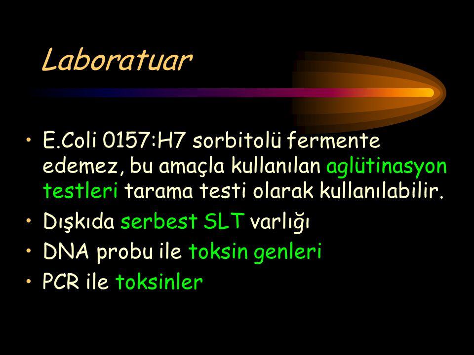 Laboratuar E.Coli 0157:H7 sorbitolü fermente edemez, bu amaçla kullanılan aglütinasyon testleri tarama testi olarak kullanılabilir. Dışkıda serbest SL