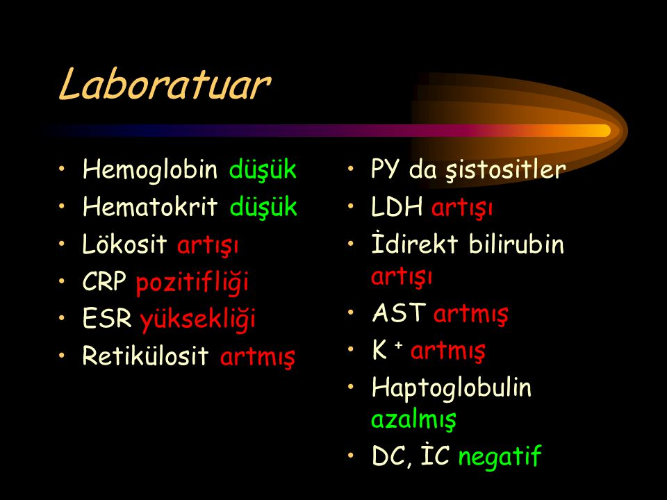 Laboratuar Hemoglobin düşük Hematokrit düşük Lökosit artışı CRP pozitifliği ESR yüksekliği Retikülosit artmış PY da şistositler LDH artışı İdirekt bil