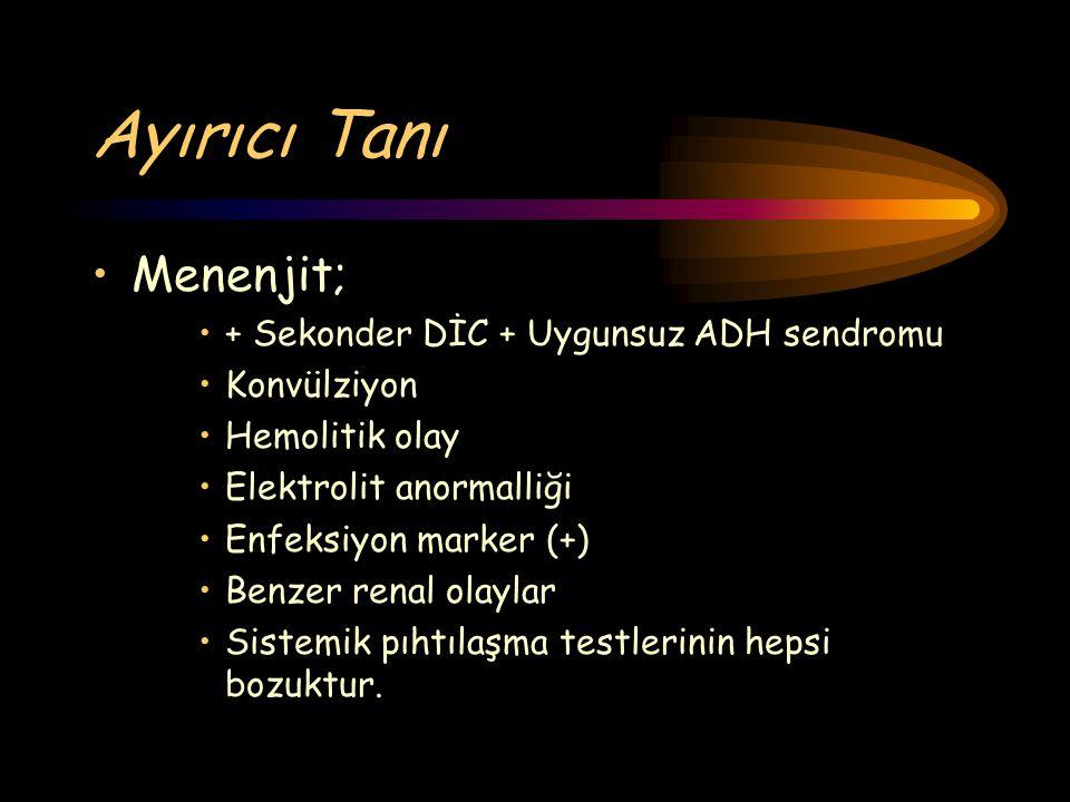 Ayırıcı Tanı Menenjit; + Sekonder DİC + Uygunsuz ADH sendromu Konvülziyon Hemolitik olay Elektrolit anormalliği Enfeksiyon marker (+) Benzer renal ola