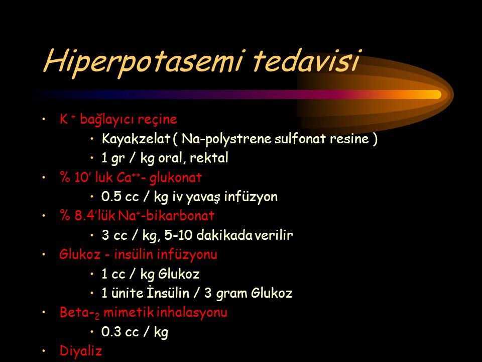 Hiperpotasemi tedavisi K + bağlayıcı reçine Kayakzelat ( Na-polystrene sulfonat resine ) 1 gr / kg oral, rektal % 10' luk Ca ++ - glukonat 0.5 cc / kg