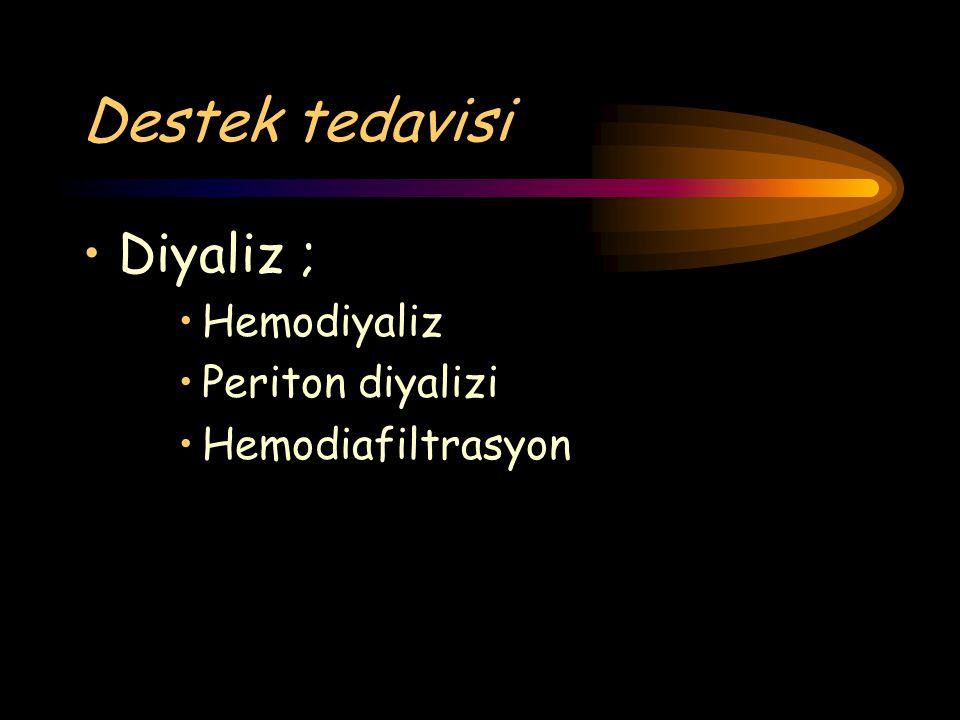 Destek tedavisi Diyaliz ; Hemodiyaliz Periton diyalizi Hemodiafiltrasyon
