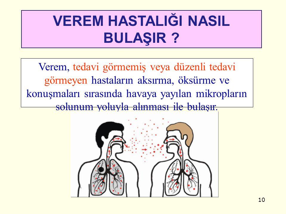 10 VEREM HASTALIĞI NASIL BULAŞIR ? Verem, tedavi görmemiş veya düzenli tedavi görmeyen hastaların aksırma, öksürme ve konuşmaları sırasında havaya yay