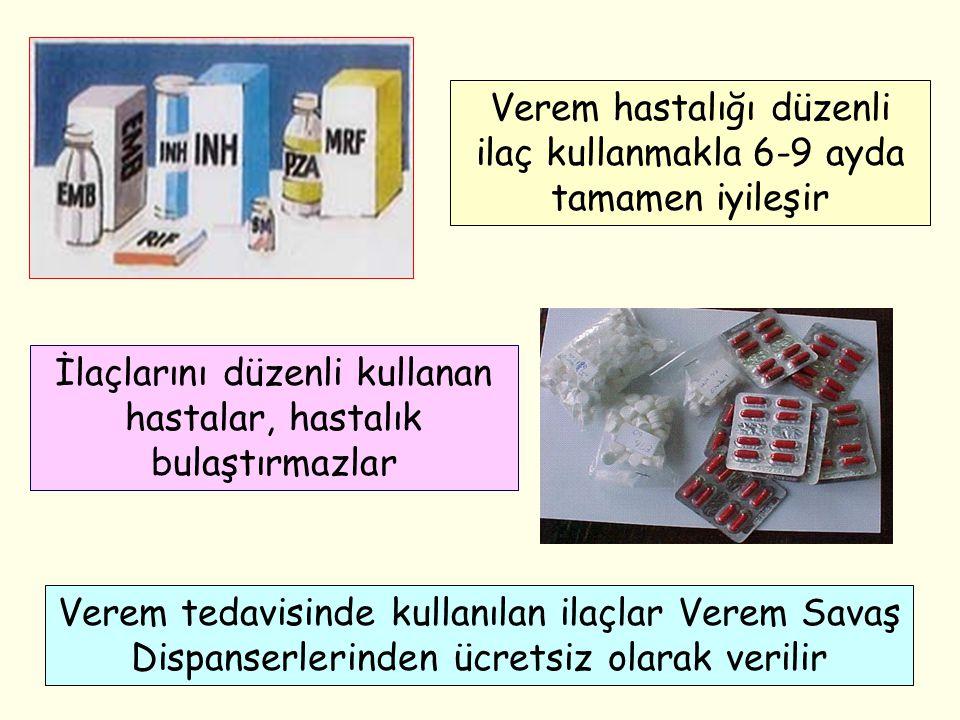 İlaçlarını düzenli kullanan hastalar, hastalık bulaştırmazlar Verem tedavisinde kullanılan ilaçlar Verem Savaş Dispanserlerinden ücretsiz olarak veril