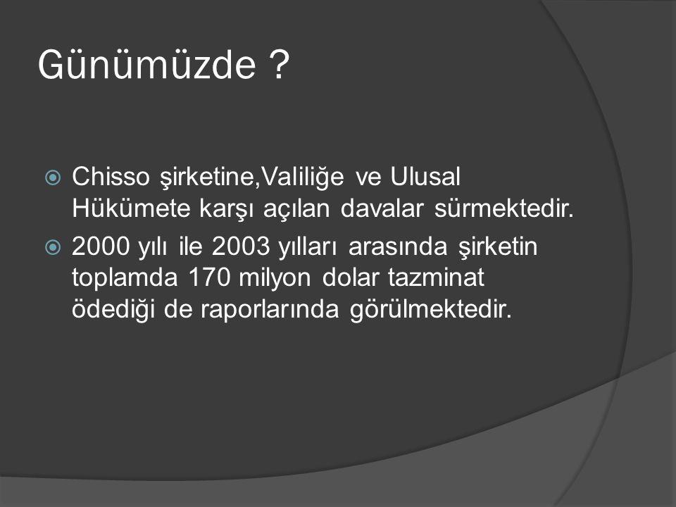 Günümüzde ?  Chisso şirketine,Valiliğe ve Ulusal Hükümete karşı açılan davalar sürmektedir.  2000 yılı ile 2003 yılları arasında şirketin toplamda 1