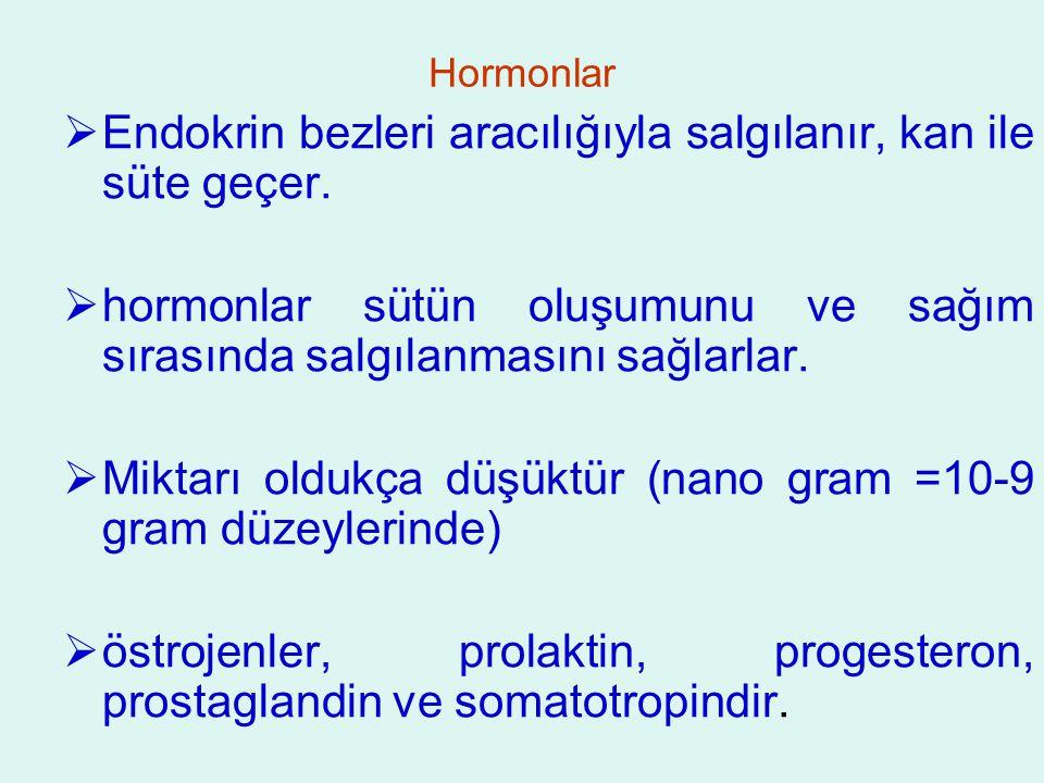 Hormonlar  Endokrin bezleri aracılığıyla salgılanır, kan ile süte geçer.