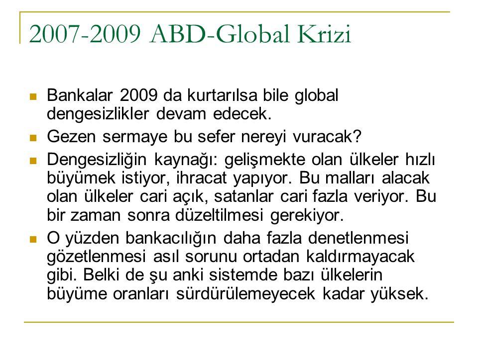 2007-2009 ABD-Global Krizi Bankalar 2009 da kurtarılsa bile global dengesizlikler devam edecek.