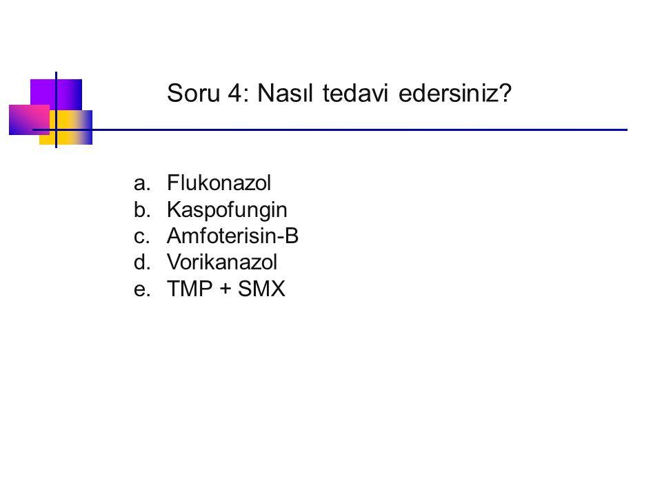 Soru 4: Nasıl tedavi edersiniz? a.Flukonazol b.Kaspofungin c.Amfoterisin-B d.Vorikanazol e.TMP + SMX