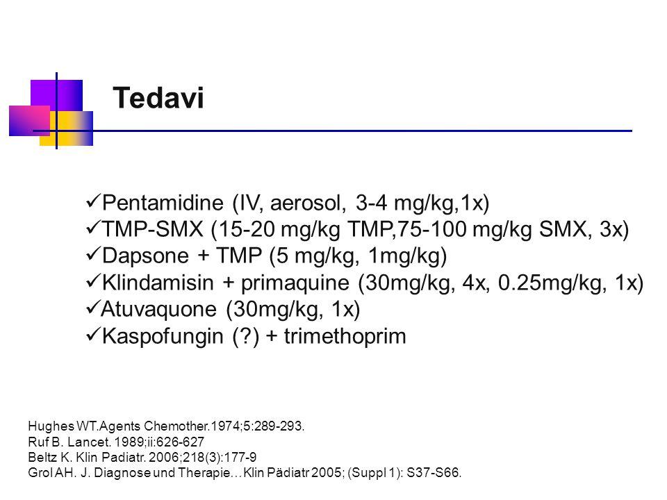 Pentamidine (IV, aerosol, 3-4 mg/kg,1x) TMP-SMX (15-20 mg/kg TMP,75-100 mg/kg SMX, 3x) Dapsone + TMP (5 mg/kg, 1mg/kg) Klindamisin + primaquine (30mg/