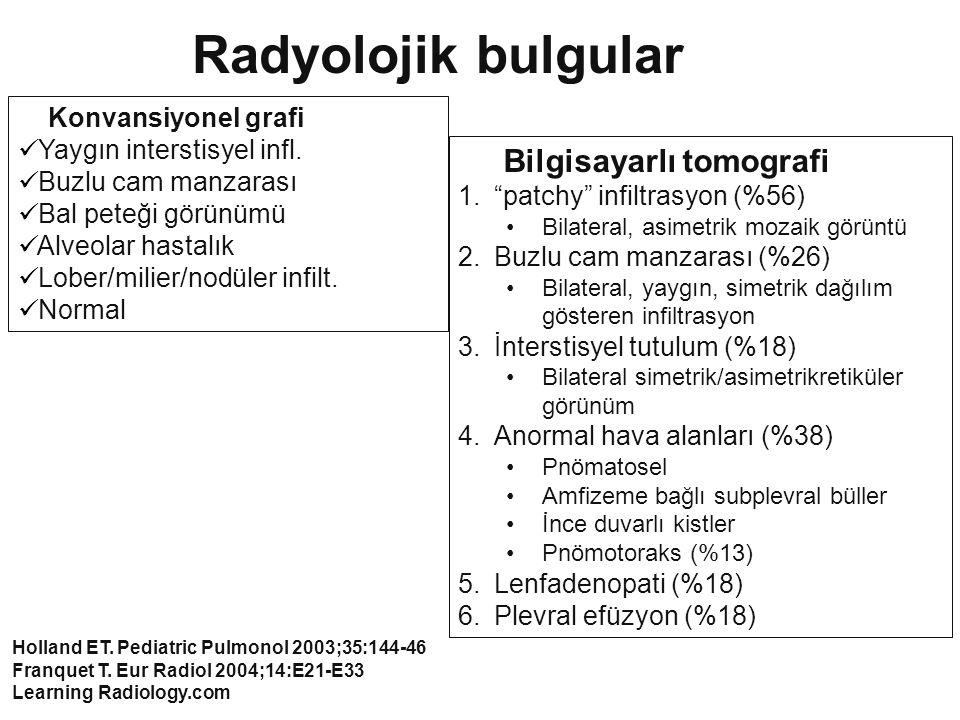 Konvansiyonel grafi Yaygın interstisyel infl. Buzlu cam manzarası Bal peteği görünümü Alveolar hastalık Lober/milier/nodüler infilt. Normal Radyolojik