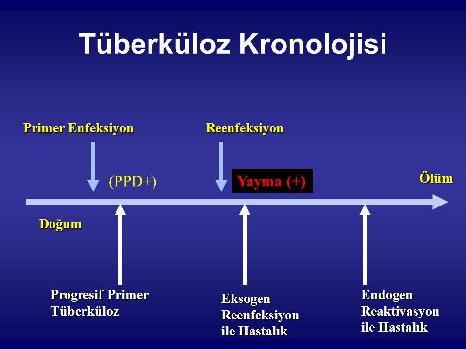 Tüberküloz Kronolojisi Doğum Ölüm Primer Enfeksiyon Progresif Primer Tüberküloz Reenfeksiyon EksogenReenfeksiyon ile Hastalık EndogenReaktivasyon (PPD+) Yayma (+)