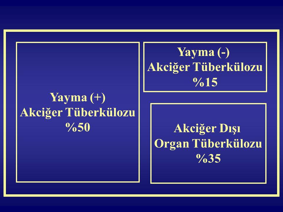Yayma (+) Akciğer Tüberkülozu %50 Yayma (-) Akciğer Tüberkülozu %15 Akciğer Dışı Organ Tüberkülozu %35
