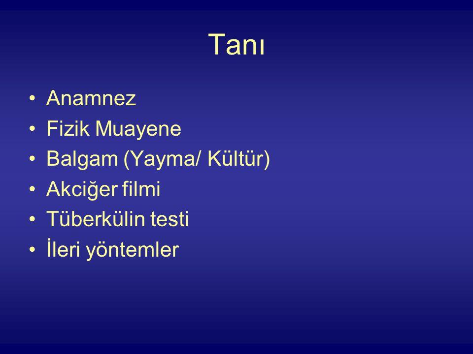 Tanı Anamnez Fizik Muayene Balgam (Yayma/ Kültür) Akciğer filmi Tüberkülin testi İleri yöntemler