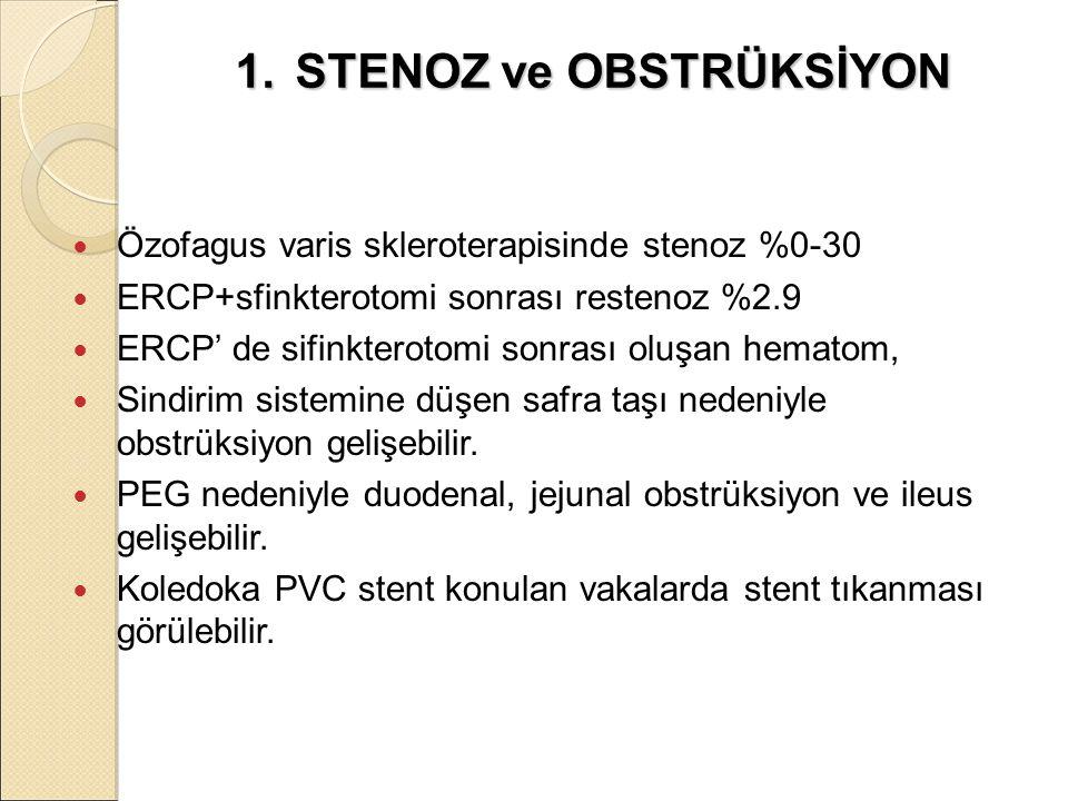 1. STENOZ ve OBSTRÜKSİYON Özofagus varis skleroterapisinde stenoz %0-30 ERCP+sfinkterotomi sonrası restenoz %2.9 ERCP' de sifinkterotomi sonrası oluşa