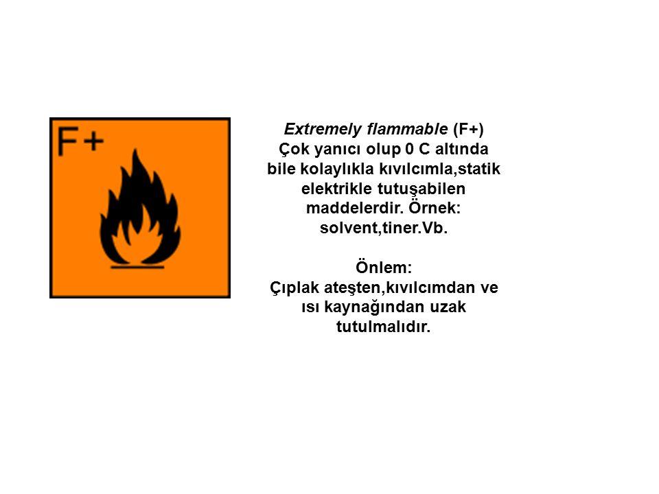 Extremely flammable (F+) Çok yanıcı olup 0 C altında bile kolaylıkla kıvılcımla,statik elektrikle tutuşabilen maddelerdir. Örnek: solvent,tiner.Vb. Ön