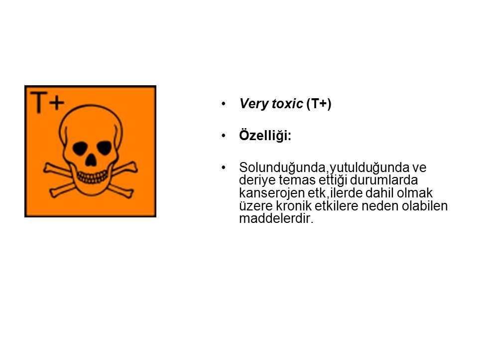 Very toxic (T+) Özelliği: Solunduğunda,yutulduğunda ve deriye temas ettiği durumlarda kanserojen etk,ilerde dahil olmak üzere kronik etkilere neden olabilen maddelerdir.