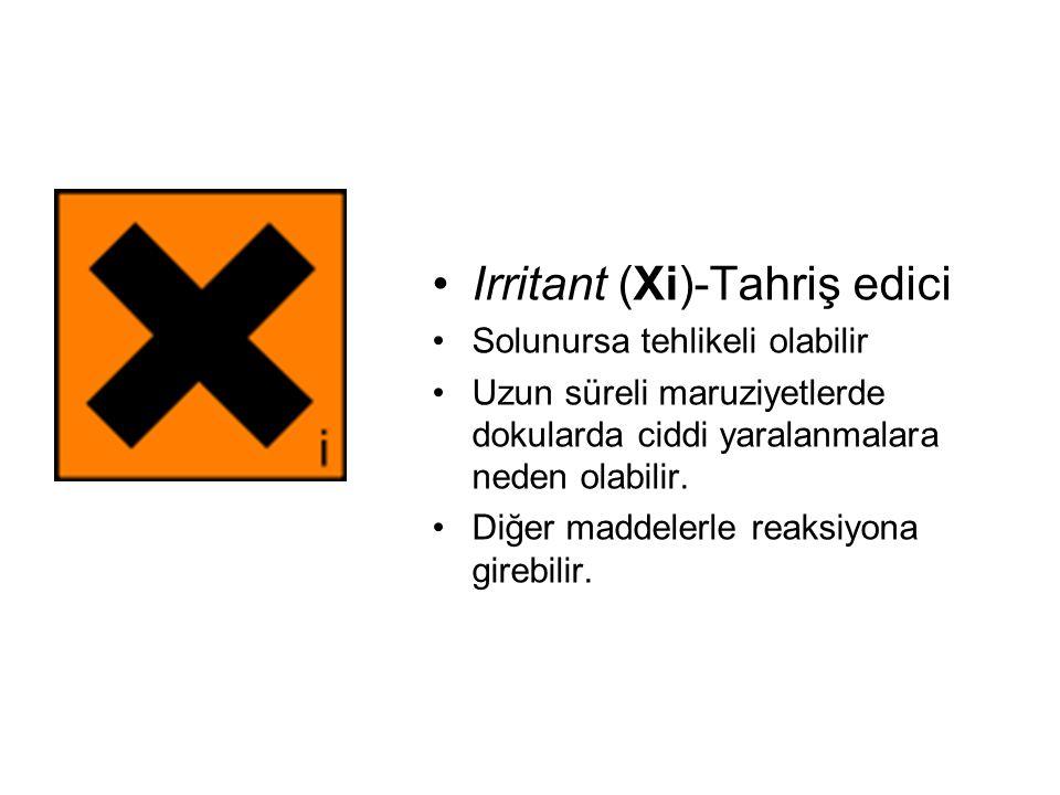 Irritant (Xi)-Tahriş edici Solunursa tehlikeli olabilir Uzun süreli maruziyetlerde dokularda ciddi yaralanmalara neden olabilir.