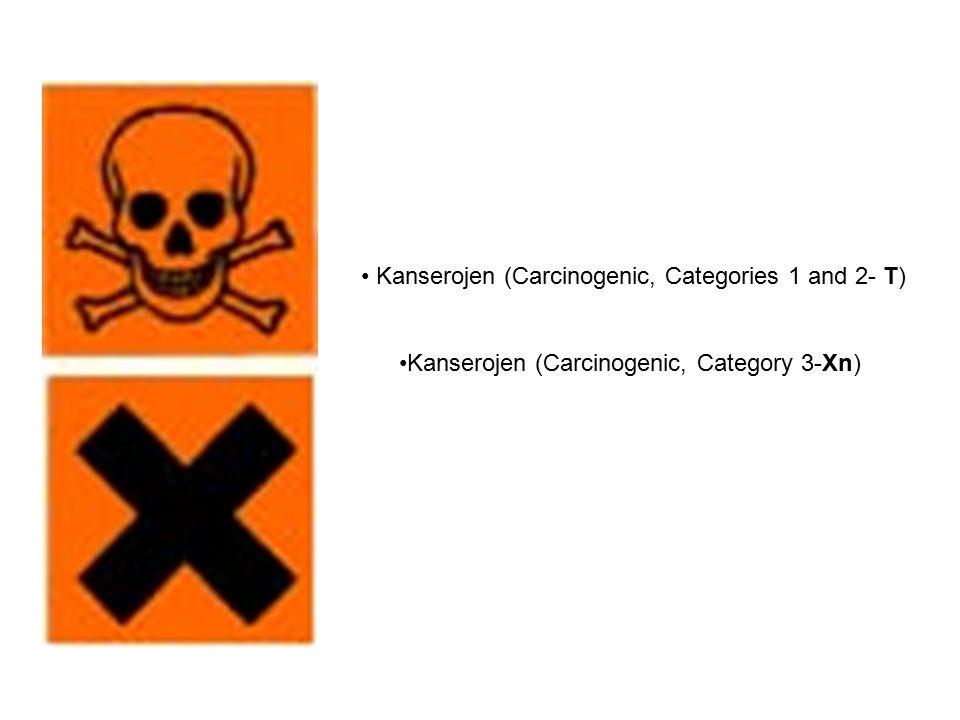 Kanserojen (Carcinogenic, Categories 1 and 2- T) Kanserojen (Carcinogenic, Category 3-Xn)