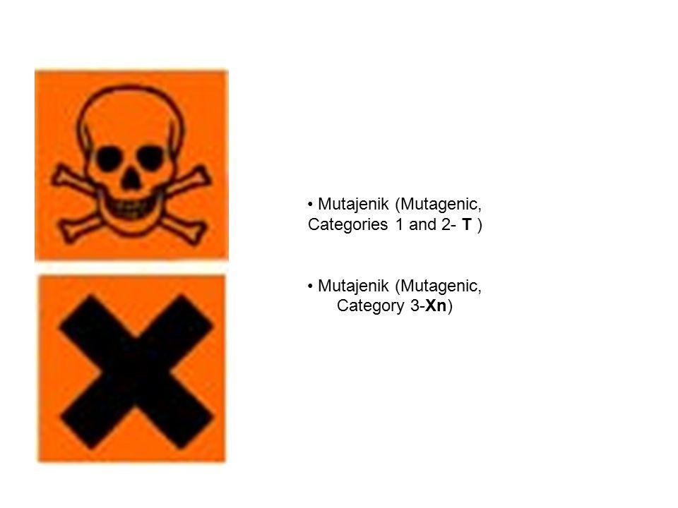 Mutajenik (Mutagenic, Categories 1 and 2- T ) Mutajenik (Mutagenic, Category 3-Xn)